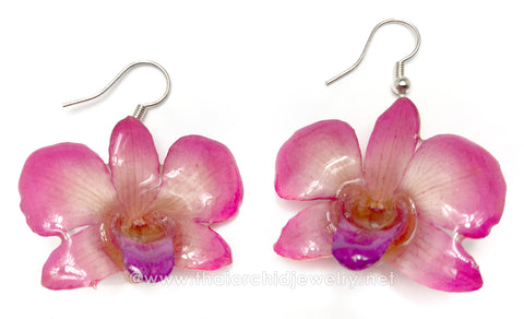 "Mini ""Diamond"" Dendrobium Orchid Earring (Pink)"