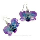 "Mini ""Diamond"" Dendrobium Orchid Earring (Purple/Navy)"