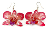 "Mini ""Diamond"" Dendrobium Orchid Earring (Red)"