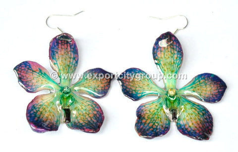 Mokara Orchid Jewelry Earring (Purple Green)