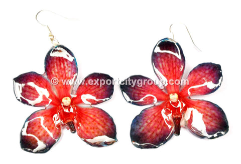 Mokara Orchid Jewelry Earring (Red 2Tone)