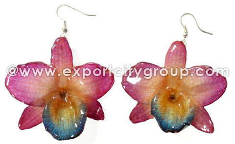 "Nobile ""Dendrobium"" Orchid Jewelry Earring (Purple)"