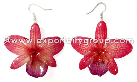 "Nobile ""Dendrobium"" Orchid Jewelry Earring (Red)"