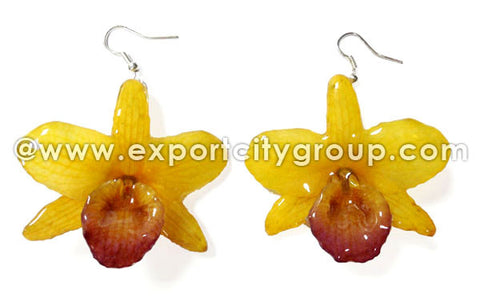 "Nobile ""Dendrobium"" Orchid Jewelry Earring (Yellow)"