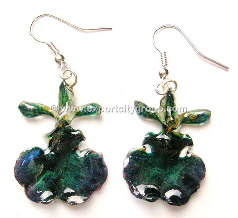 "Oncidium Orchid Jewelry Earring ""Full"" (Navy Blue)"