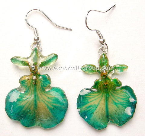 "Oncidium Orchid Jewelry Earring ""Full"" (Green Turquoise)"