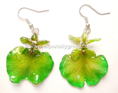 "Oncidium Orchid Jewelry Earring ""Full"" (Green)"