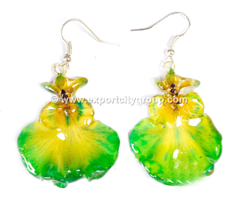 "Oncidium Orchid Jewelry Earring ""Full"" (Yellow Green)"