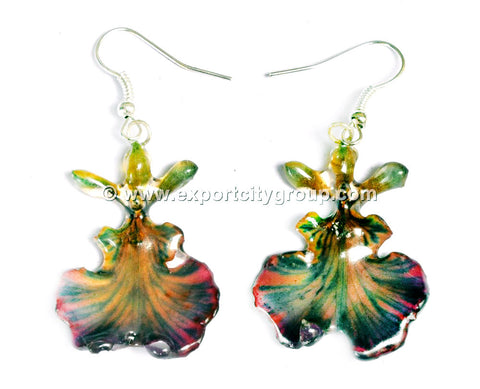 "Oncidium Orchid Jewelry Earring ""Full"" (Purple 2Tone)"