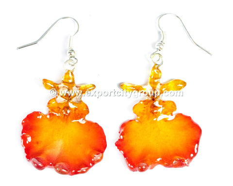 "Oncidium Orchid Jewelry Earring ""Full"" (Yellow 2Tone)"