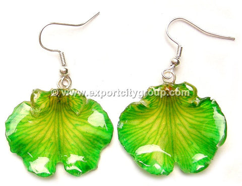 "Oncidium Orchid Jewelry Earring ""Short"" (Green)"