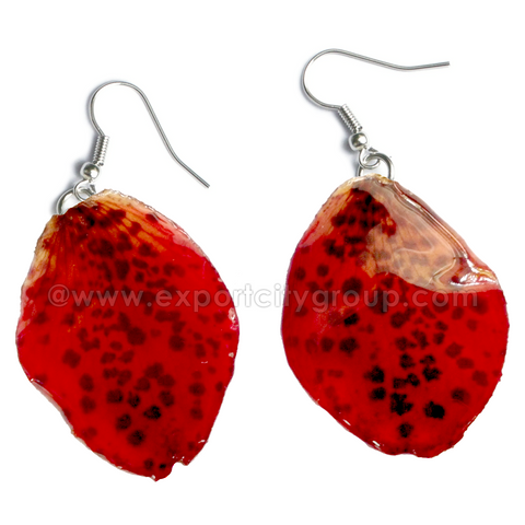 Paphiopedilum Bellatulum Orchid Jewelry Earring (Red)