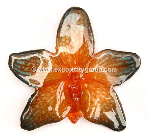 Phalaenopsis STAR Orchid Jewelry Pendant (Orange 2 Tone)
