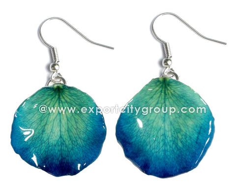 ROSE Petal Real Flower Jewelry Earring (Blue Turquoise)