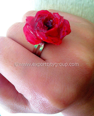 ROSE Real Flower Jewelry Ring (Red)