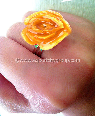 ROSE Real Flower Jewelry Ring (Yellow)