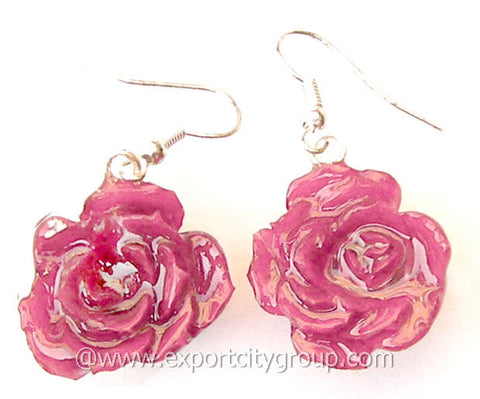 ROSE Real Flower Jewelry Earring (Pink)
