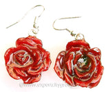 ROSE Real Flower Jewelry Earring (Red)