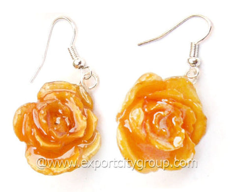 ROSE Real Flower Jewelry Earring (Yellow)