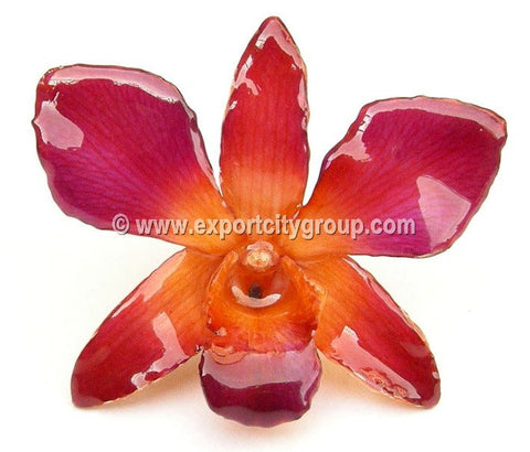 "Sonia ""Dendrobium"" Orchid Pendant (Purple Orange)"