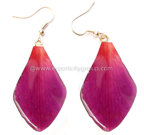 "Sonia ""Dendrobium"" Orchid Petal Earring (Purple Red)"