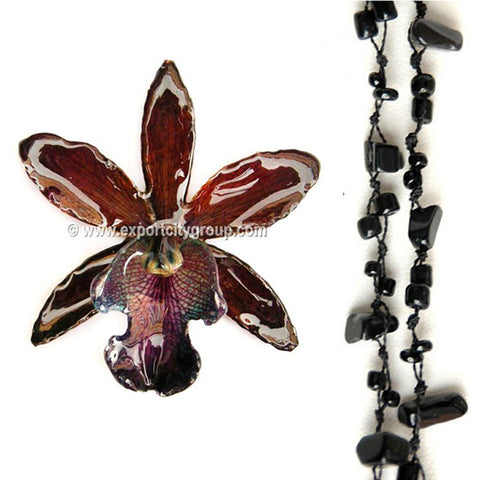 DIY Stone Beads Necklace - Black Agate (Exclude Flower)