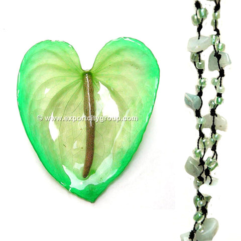 DIY Stone Beads Necklace - Green Jade (Exclude Flower)