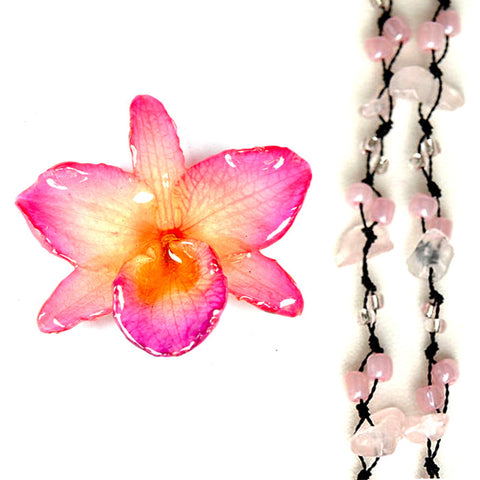 DIY Stone Beads Necklace - Rose Quartz (Exclude Flower)