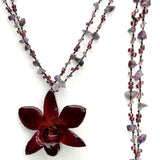 DIY Stone Beads Necklace - Purple Amethyst (Exclude Flower)