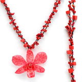 DIY Stone Beads Necklace - Red Coral (Exclude Flower)