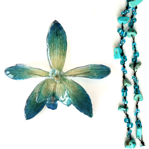 DIY Stone Beads Necklace - Turqiouse Green (Exclude Flower)