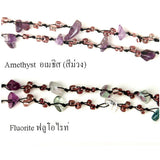 DIY Stone Beads Necklace - Purple Green Fluorite (Exclude Flower)