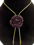 Red Plum TEA ROSE Real Flower Jewelry Slider Necklace Gold Plated 24K