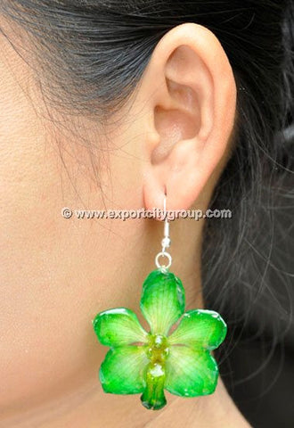 Vanda Orchid Jewelry Earring (Green Yellow)