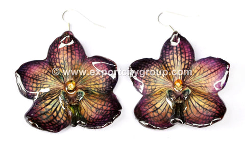 Vanda Orchid Jewelry Earring (Dark Purple)