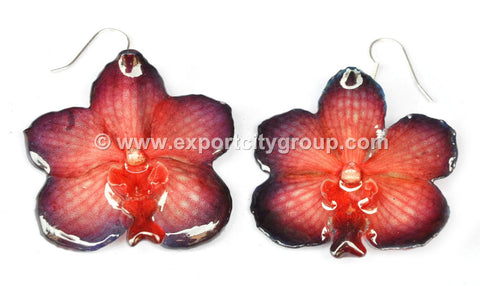 Vanda Orchid Jewelry Earring (Red 2 Tone)