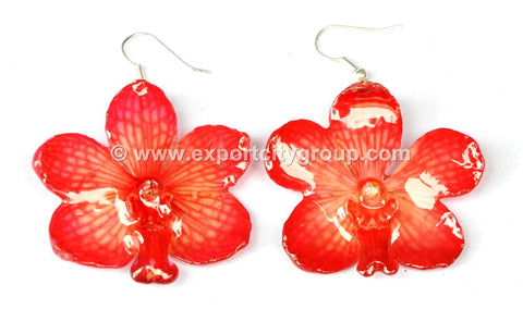 Vanda Orchid Jewelry Earring (Red)