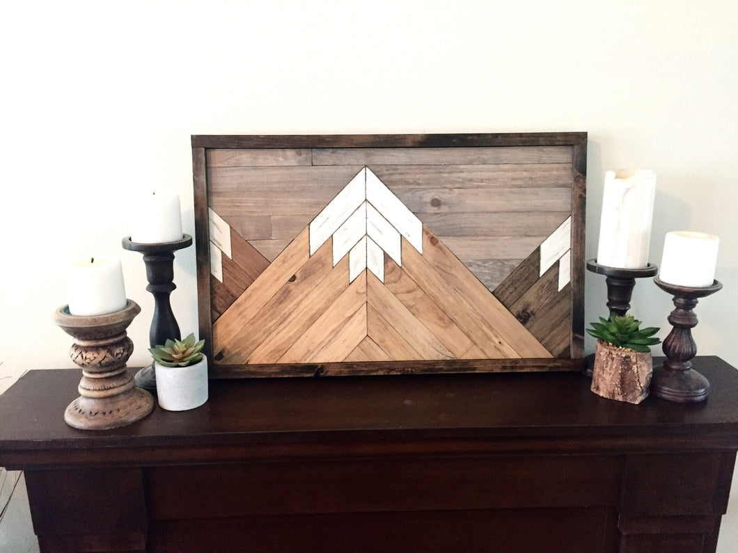Mountain Range Wooden Wall Art Mountain Range