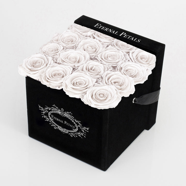 WHITE SATIN | BLACK FLOWER BOX