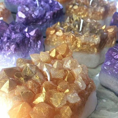 Amethyst & Citrine Crystal Cluster Candles - Just Released