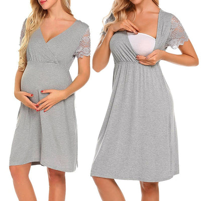 "Maternity Dresses | ""Victoria""  V Collar Short Sleeve Pregnancy Dresses"