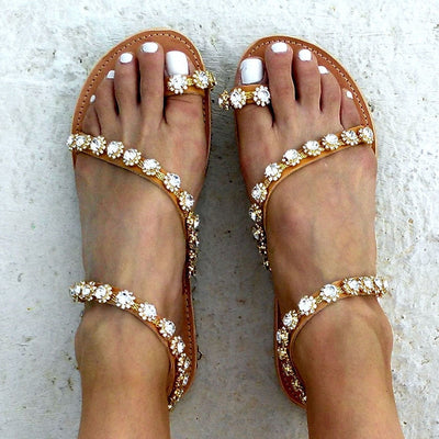 "Women Sandals | ""Calliope"" Crystal Flat Sandals (Free Shipping)"