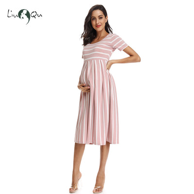 "Maternity Dresses | ""Lisa"" Casual Striped Maternity Dress (Free Shipping)"