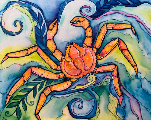 Original - Elvis King Crab Painting by Grace Wolf