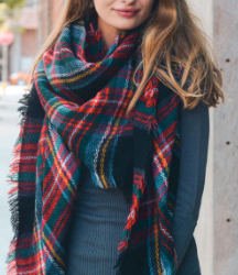 Classic Plaid Blanket Scarf - Red & Green