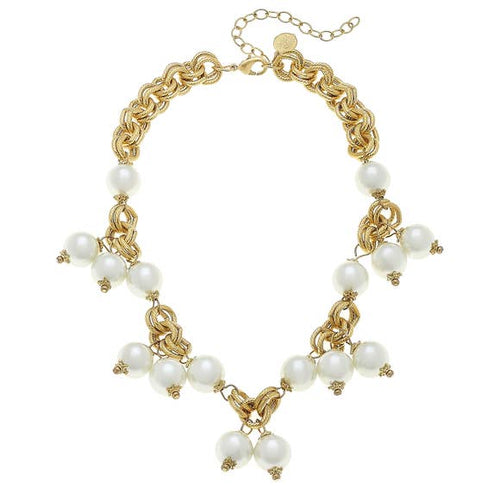 Handcast Gold with Glass Pearl Necklace