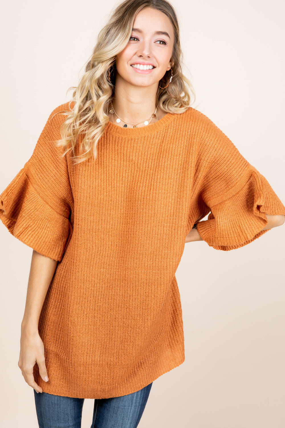 Flutter Bell Sweater - Rust/Burnt Orange