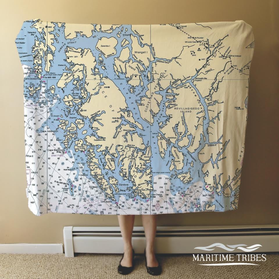 Ketchikan Nautical Chart Blanket - Map