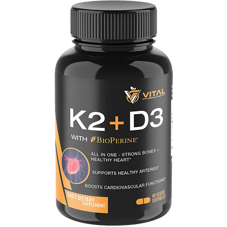 Vitamin K2 (MK7) with D3 - For Strong Bones & Healthy Heart