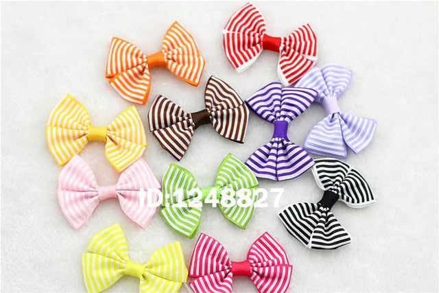 "10Pcs/lot New 2.5""Ribbon Bow clip Girl little hair top clip Dot/Printed/Solid Bow Hairpin for Baby Children accessories for hair"